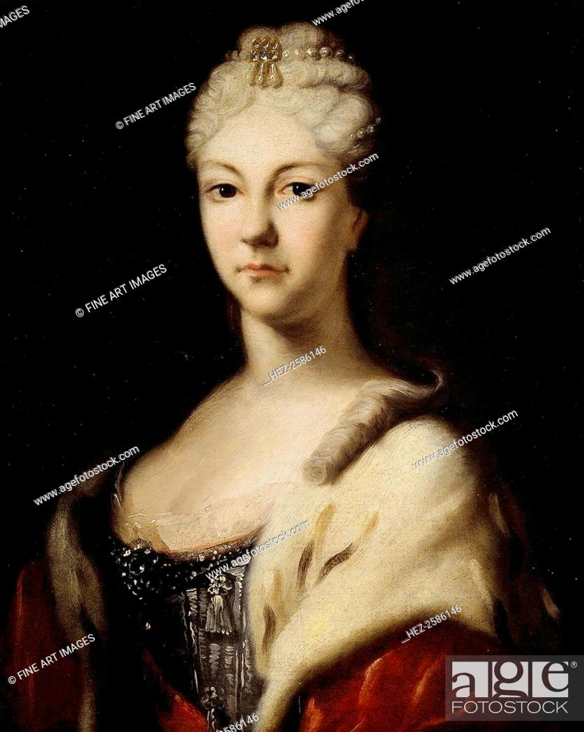 Stock Photo: Portrait of Grand Duchess Natalya Alexeevna of Russia', (1673-1716), before 1716. Sister of tsar Peter the Great. Ivan Nikitich (1680s-after 1742).