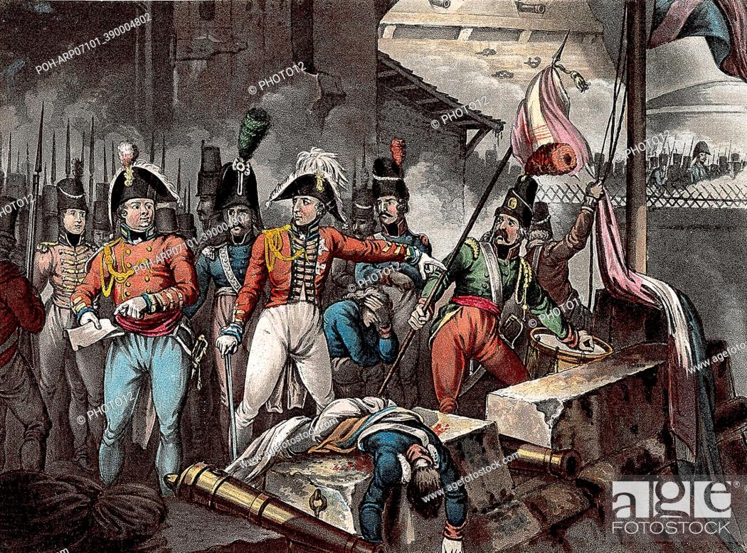 Imagen: Peninsular War: Duke of Wellington (Arthur Wellesley 1769-1852) at the taking of Ciudad Rodrigo 1812. Drawn and etched by William Heath.