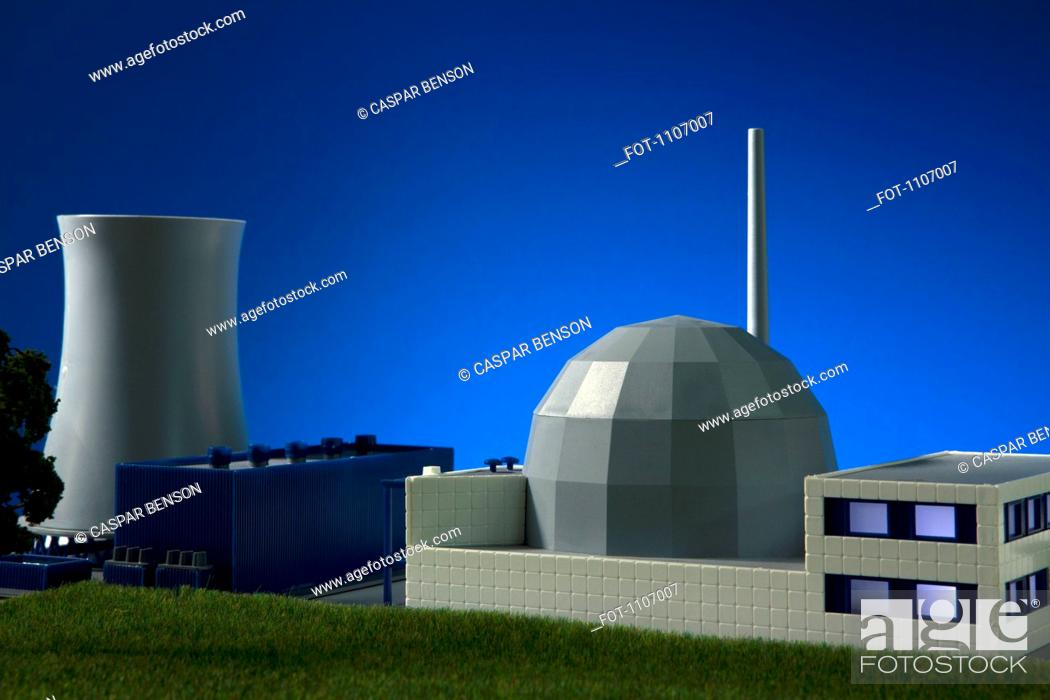 Stock Photo: A model built to scale of a nuclear power plant.