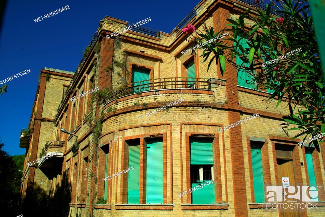 Stock Photo: abandoned building, forgotten Hotel, Giulianova is a coastal town and comune in the province of Teramo of central Italy.