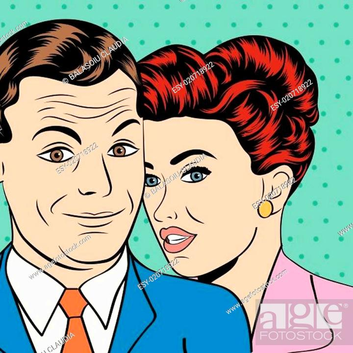 Stock Vector: Man and woman love couple in pop art comic style.