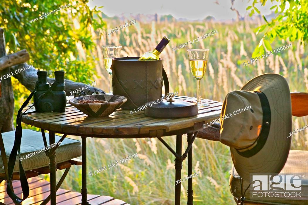 Stock Photo: Safari Lodge Viewing Terrace. Botswana.