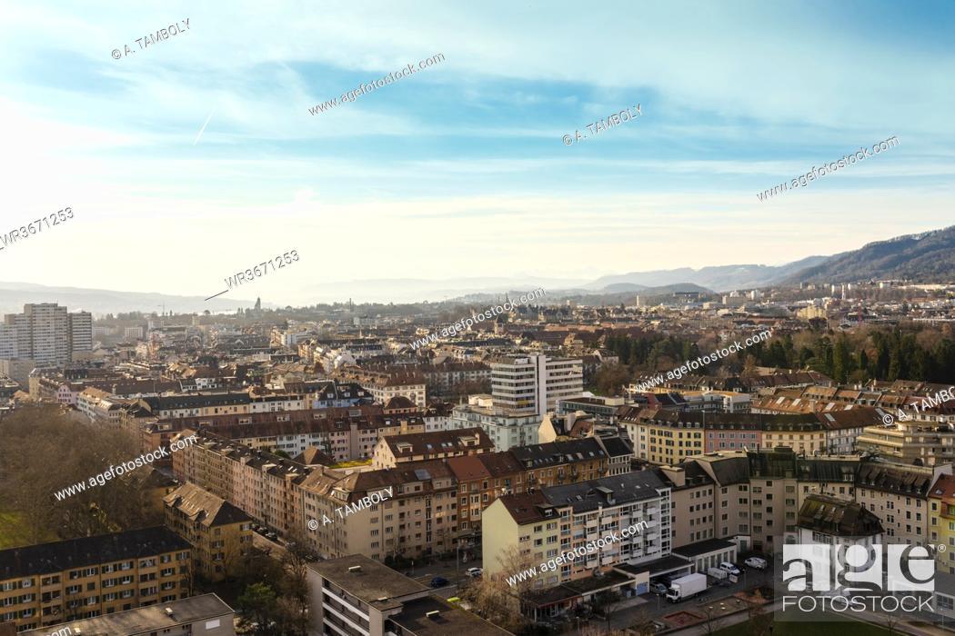 Stock Photo: Switzerland, Zurich, Apartment buildings, aerial view.