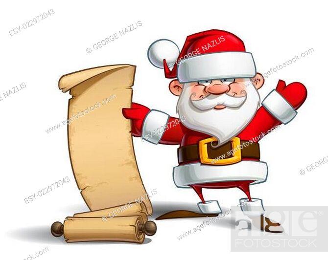 Stock Photo: Happy Santa - Gift List.