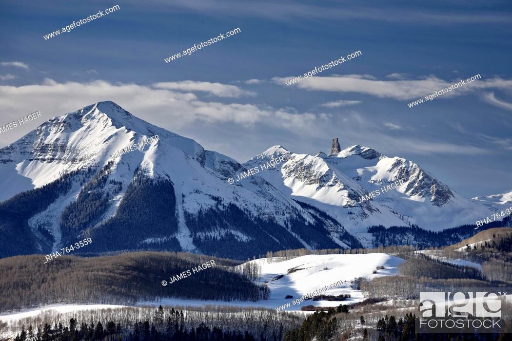 Stock Photo: Lizard Head in the winter, Uncompahgre National Forest, Colorado, United States of America, North America.