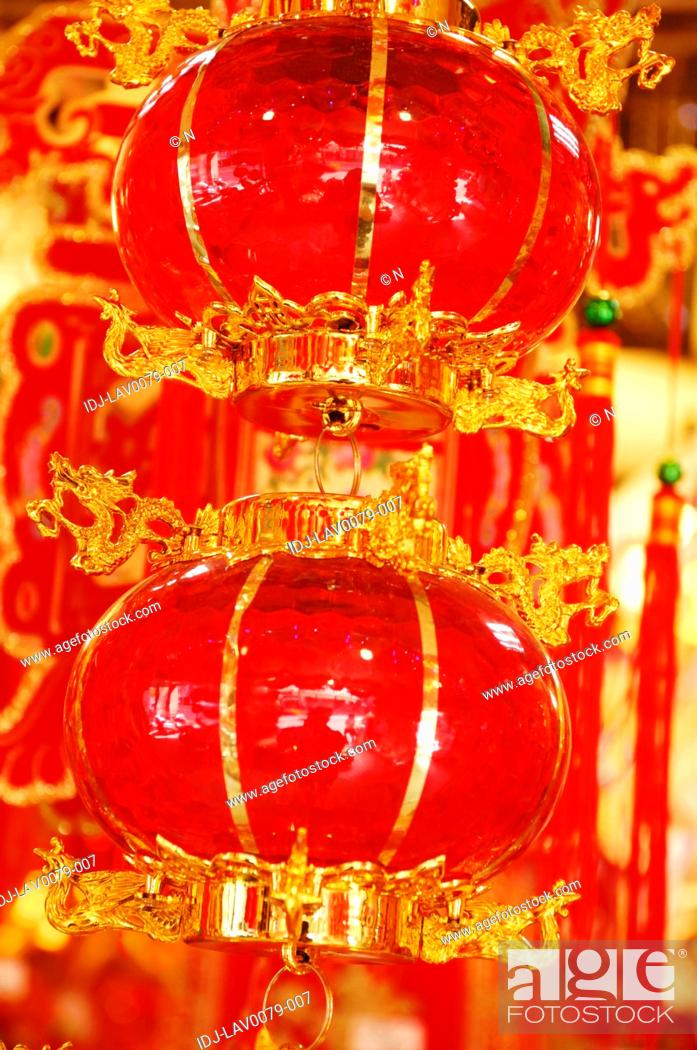 Stock Photo: Chinese lanterns hanging at a market stall, Dihua Street, Taipei, Taiwan.