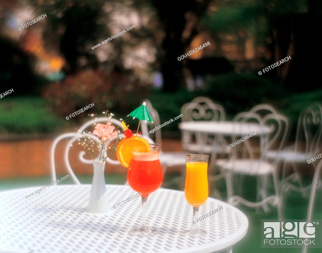 Stock Photo: cuisine, cocktail, food, table, orangejuice, film.