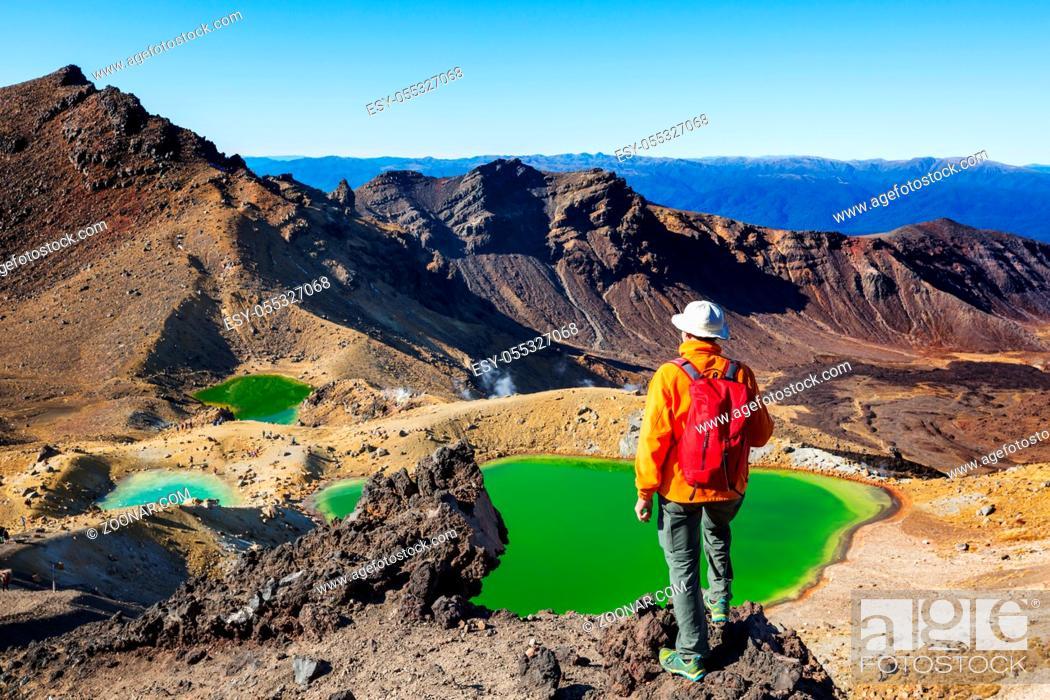 Stock Photo: Unusual volcanic landscapes on Tongariro Crossing track, Tongariro National Park, New Zealand. Wanderlust concept.