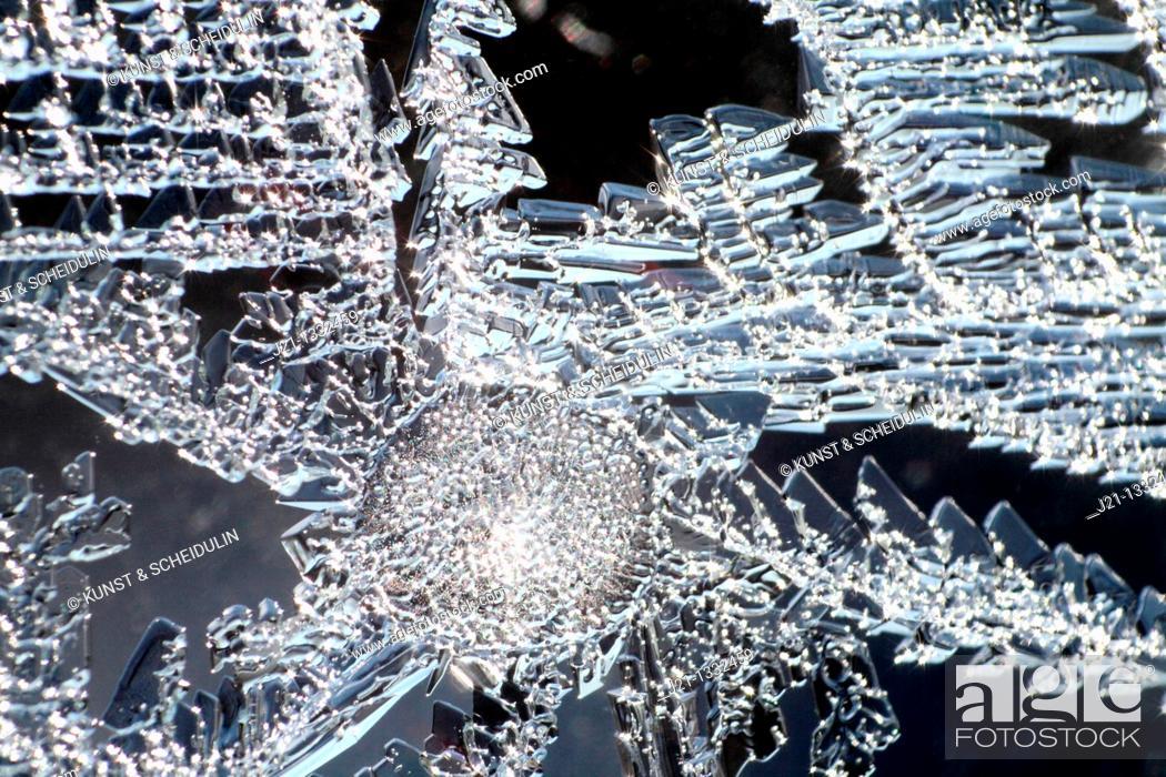 Stock Photo: Frost pattern on a window pane.