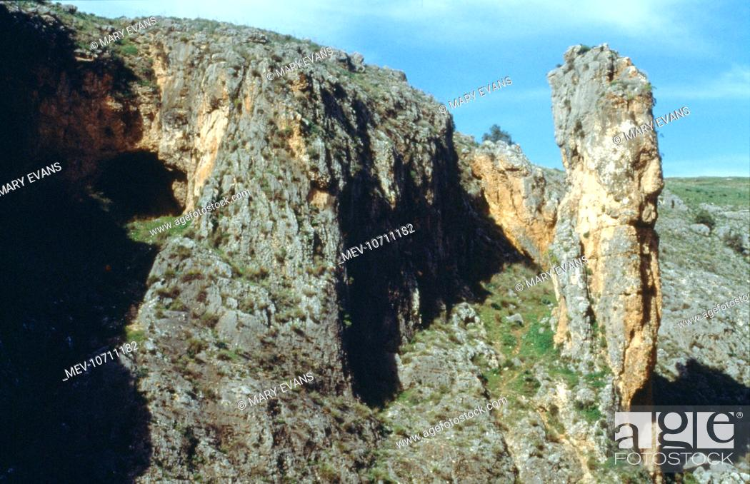 Amud a photograph of amud cave where in 1961, remains of neanderthal man