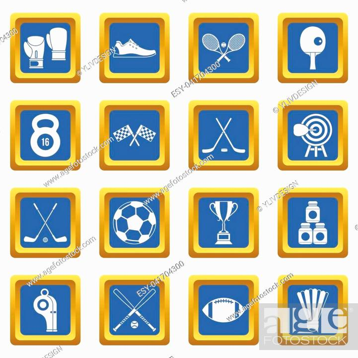 Stock Photo: Sport equipment icons set in blue color isolated illustration for web and any design.