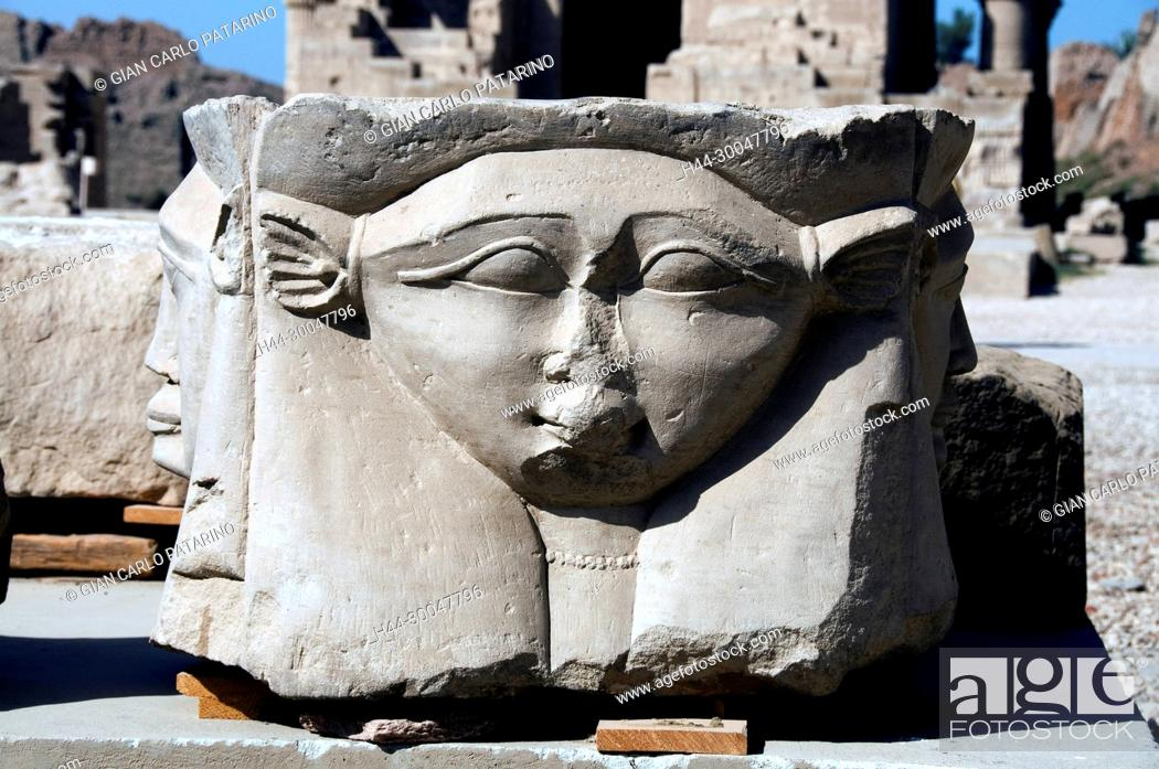 Stock Photo: Dendera Egypt, ptolemaic temple dedicated to the goddess Hathor: a capitol with the goddess Hathor.