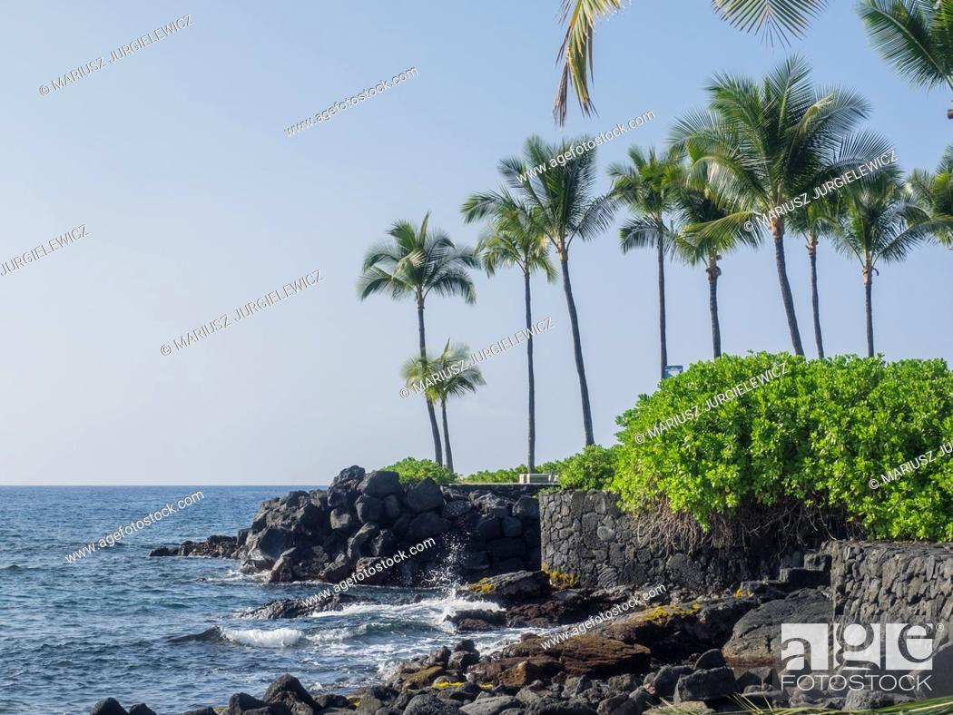 Stock Photo: Kamakahonu, the residence of Kamehameha I, was located at the North end of Kailua Bay in Kailua-Kona on Hawaii Island.