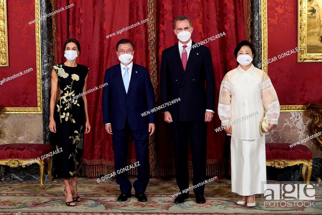 Stock Photo: The Spanish Royals, King Felipe VI of Spain, Queen Letizia of Spain host a dinner for South Korean President Moon Jae-in.