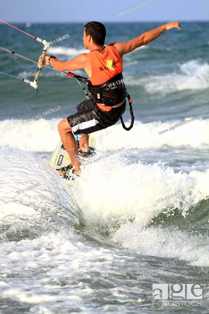 Stock Photo: Kite surf Cullera beach Valencia province Spain Europe.