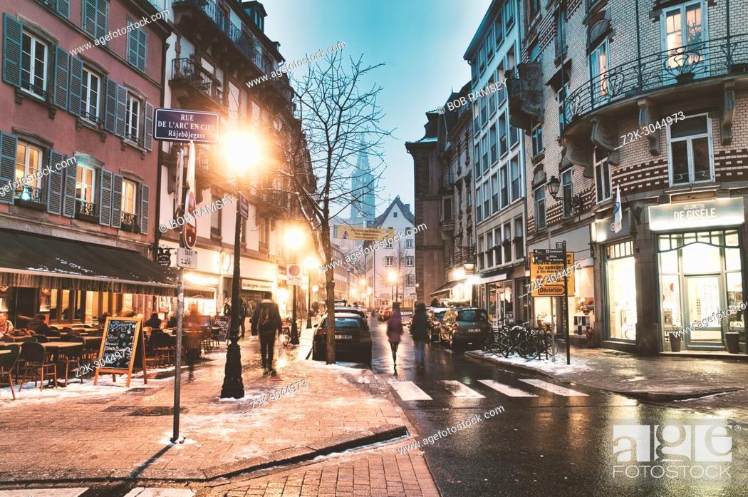 Stock Photo: Night scene. Old City. Strasbourg. France.