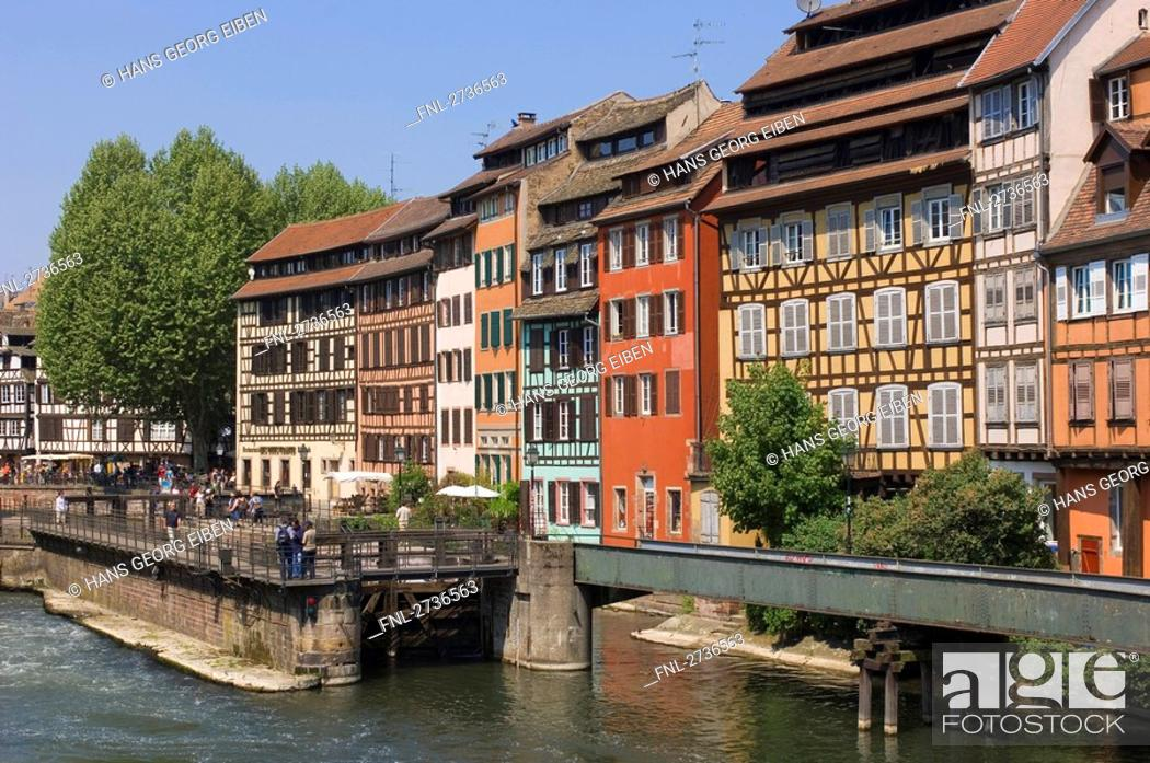 Stock Photo: Timber framed houses near bridge, Strasbourg, Germany.