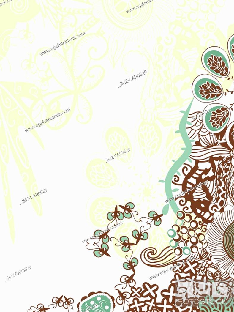 Stock Photo: A green, brown and white floral decorative background.