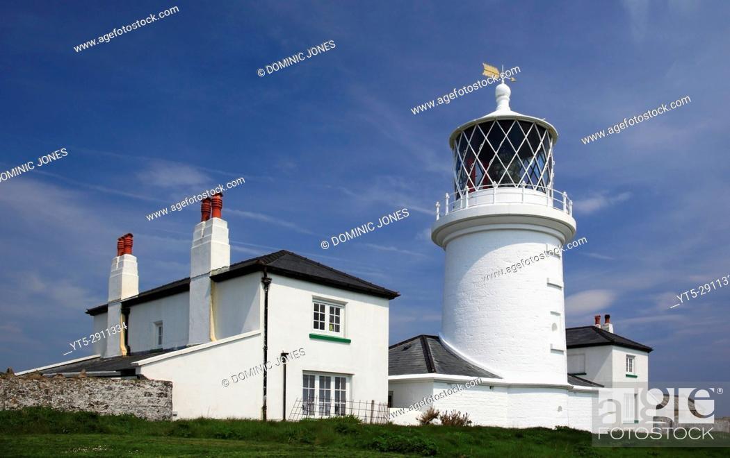 Stock Photo: The lighthouse on Caldey Island, Pembrokeshire, Wales, Europe.