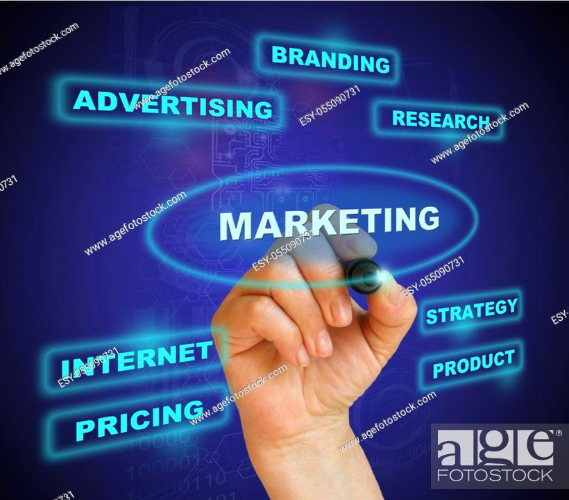 """Stock Photo: businesswoman marking """"""""marketing"""""""" in blue on the gradient background made in 2d software."""