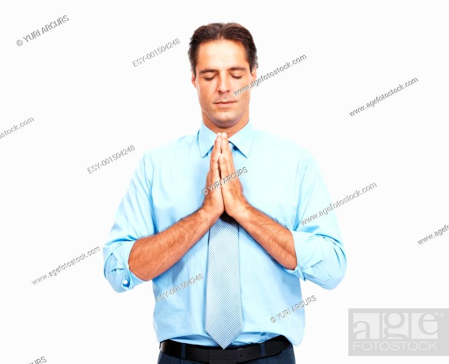 Stock Photo: Portrait of mature business man praying isolated on white background.