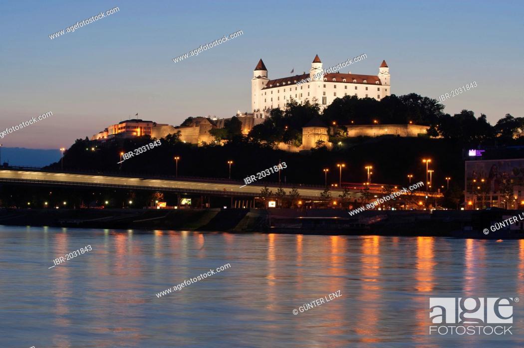 Stock Photo: Bratislava Castle at dusk, Bratislava, Slovakia, Europe.