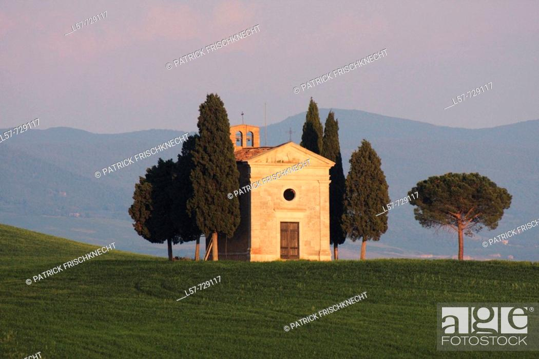 Stock Photo: Chapel Vitaleta, Cypress, Italian Cypress, Cupressus sempervirens, cypresses, hill countryside, agricultural landscape, spring, Val d' Orcia, Tuscany, Italy.