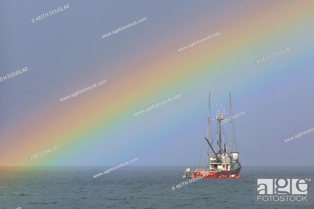 Stock Photo: Fishing boat and rainbow, near Nanaimo, Vancouver Island, British Columbia.