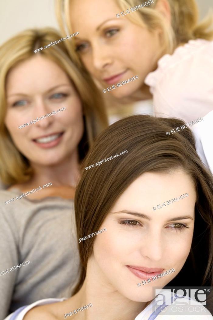 Stock Photo: Three thinking women, indoors.