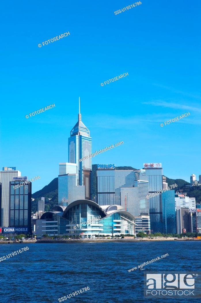 Stock Photo: Skyscrapers in a city, Hong Kong, China.