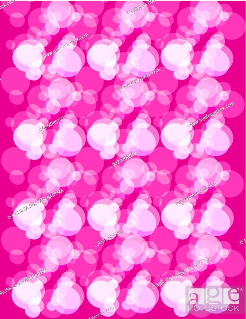 Stock Photo: Pink and white champagne bubble pattern on pink background.