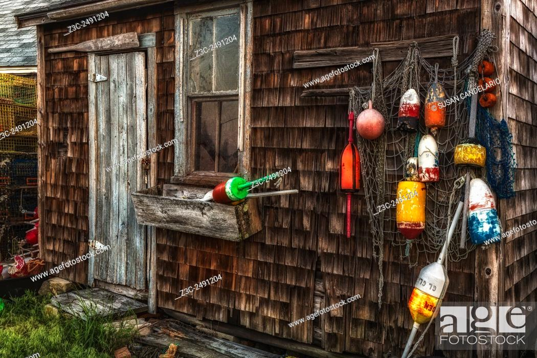 Stock Photo: Rockport Lobster Shack - This shack shows signs of being weathered by time but still stands tall and with lots of character.