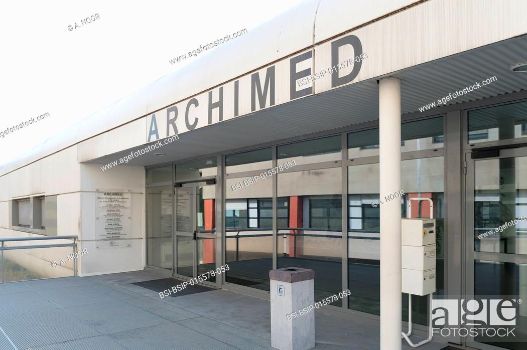 Stock Photo: Reportage in the hepatology service of Archet Hospital, Nice, France. The Archimed research building: researchers from INSERM.