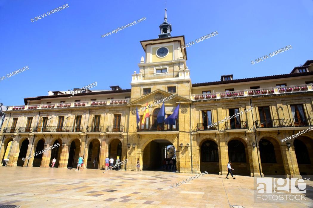 Stock Photo: Facade of the Town Hall of Oviedo, Asturias, Spain.