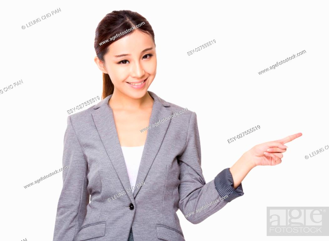 Stock Photo: Asian young businesswoman with finger point up.