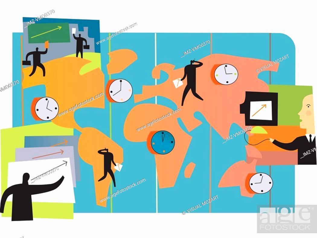 Stock Photo: International business time zones across the globe.