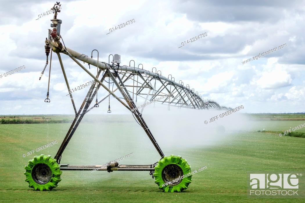 Florida, Indiantown, center pivot irrigation equipment
