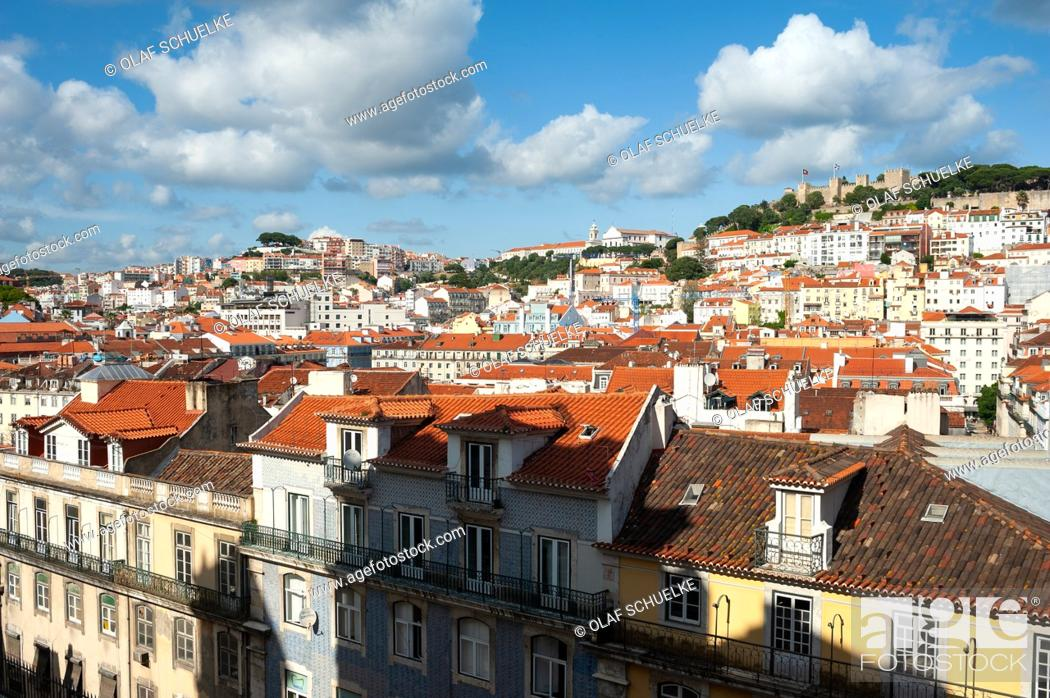 Stock Photo: Lisbon, Portugal, Europe - An elevated view of the historic city district Baixa with the Castelo de Sao Jorge in the backdrop.