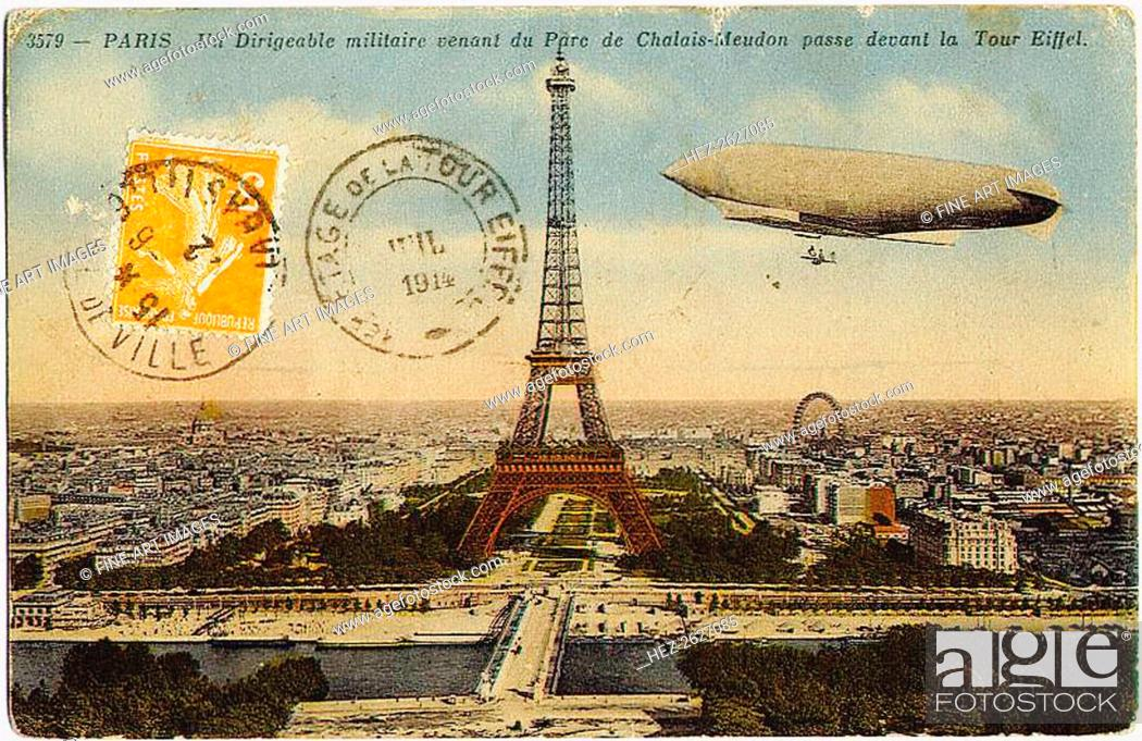 Stock Photo: Military airship from the Chalais-Meudon park flying near the Eiffel Tower, 1908. Artist: Anonymous.