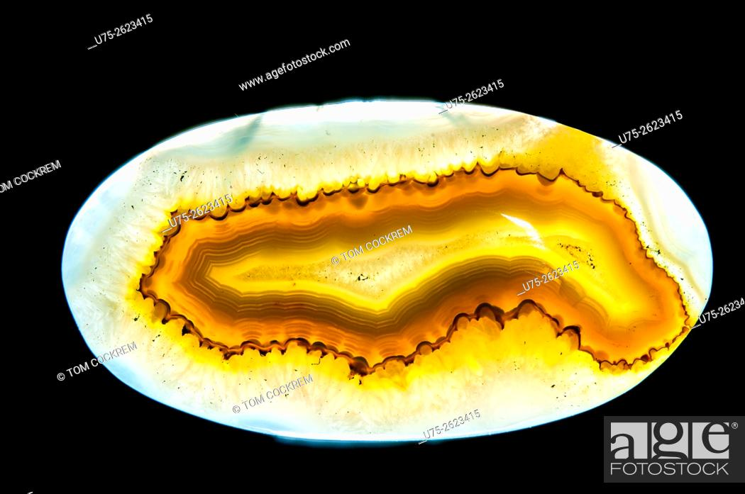 Stock Photo: Natural African onyx druzy agate mineral stone in studio setting.