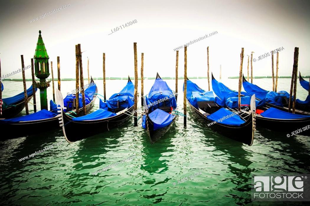 Stock Photo: Gondolas in Venice.