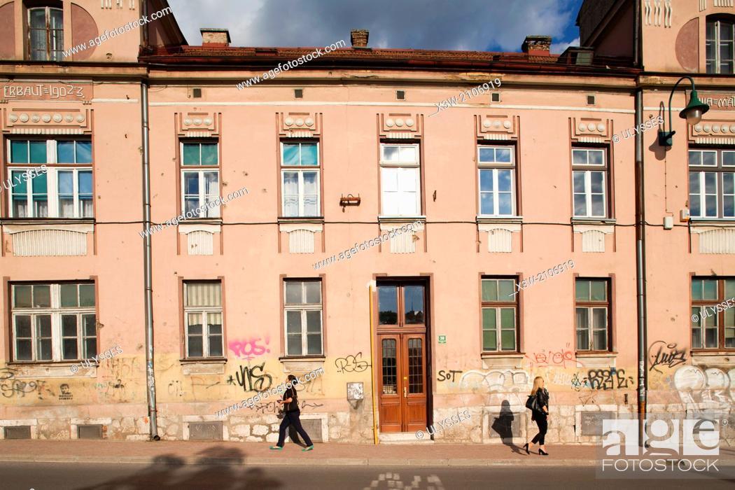 Stock Photo: buildings in kosevo street, sarajevo, bosnia and herzegovina, europe.