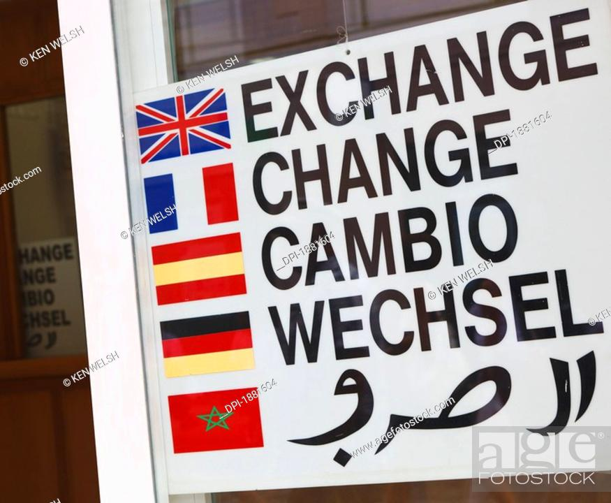 Sign Outside Currency Exchange In
