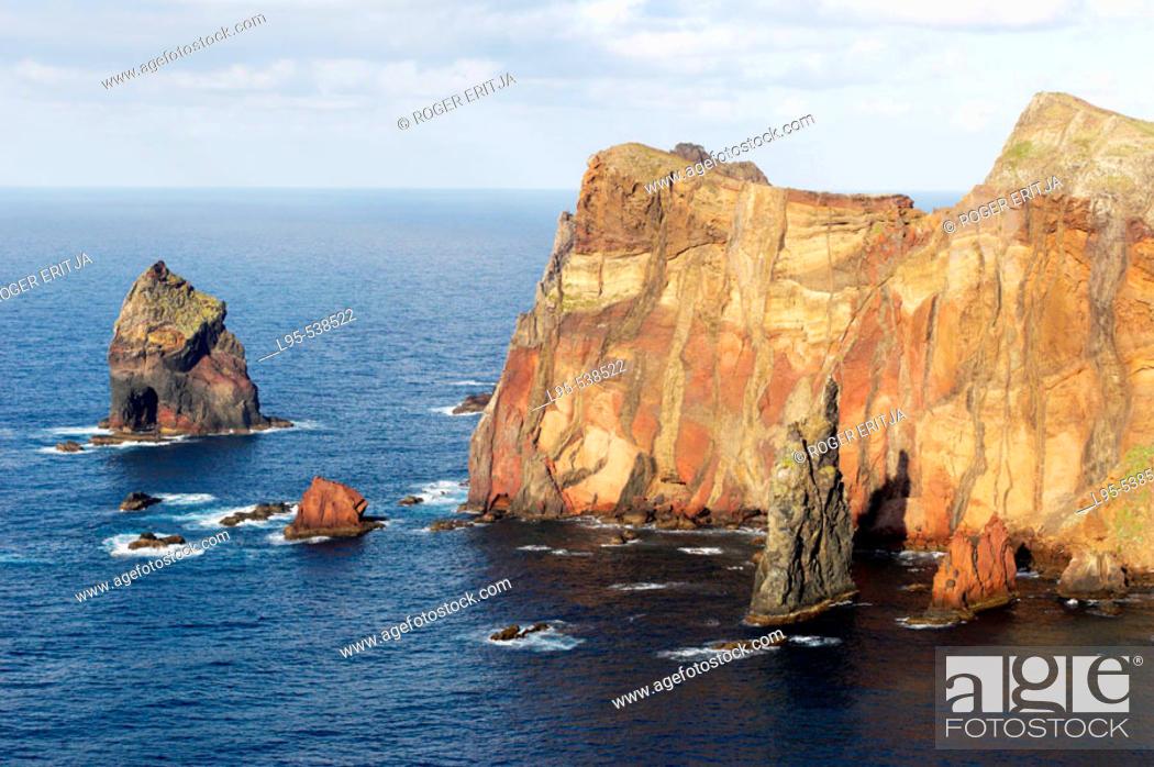 Stock Photo: Volcanic rock cliffs at the Ponta de Sao Lourenço, Madeira Island, Portugal.