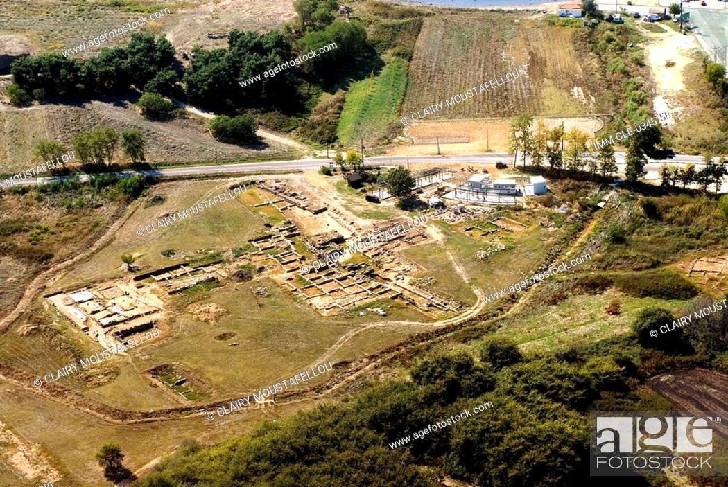 Stock Photo: Aerial view of the ruins of Abdera, the town is now called Avdira. It is situated on the coast of the Xanthi prefecture, near the mouth of the Nestos River.