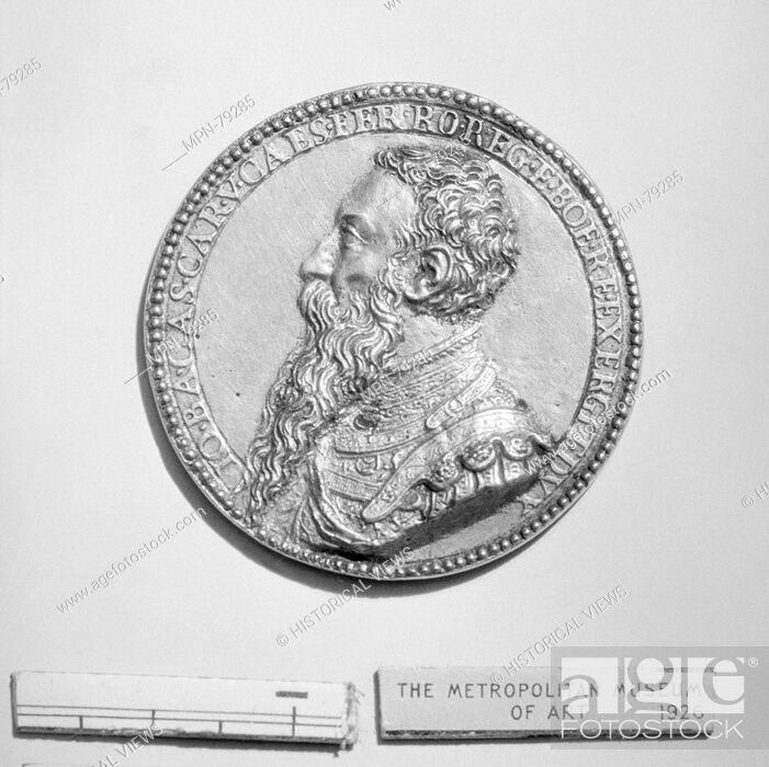 Stock Photo: Gianbattista Castaldi (d. 1562). Date: 16th century; Culture: Italian; Medium: Gilt bronze; Dimensions: Diameter: 1 3/4 in. (4.