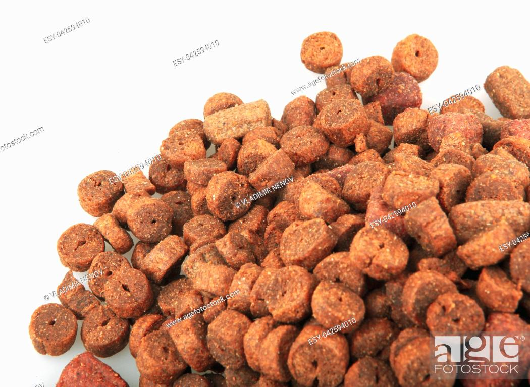 Stock Photo: Dried pet food isolated on white background.