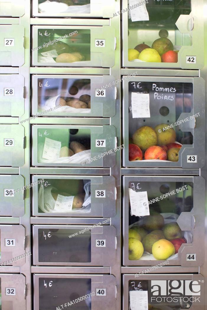 Stock Photo: Food lockers in self-serve grocery.