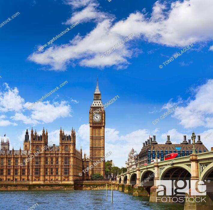 Imagen: Big Ben London Clock tower in UK Thames river.