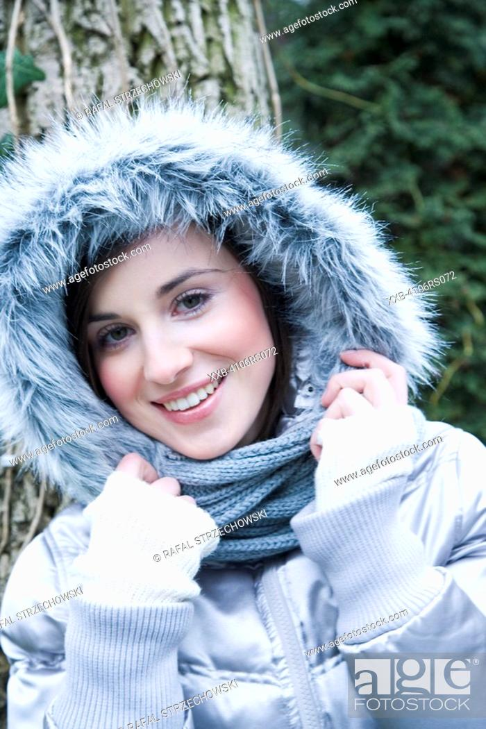 Stock Photo: portrait of a woman in winter jacket.